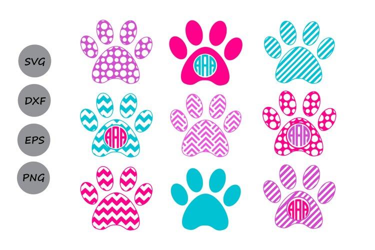 Paw Print SVG, Print Monogram, Dog Paw SVG, Die Cuts. example image 1