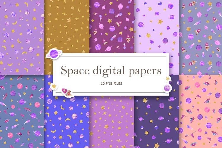 violet space digital paper, Galaxy paper pack