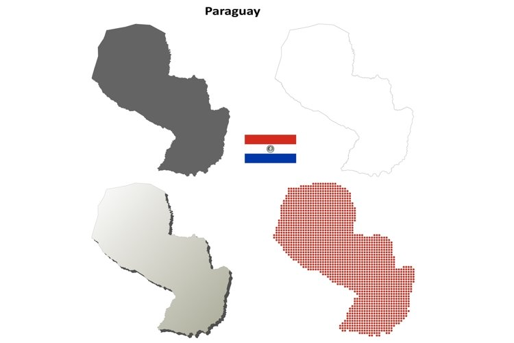 Paraguay outline map set example image 1