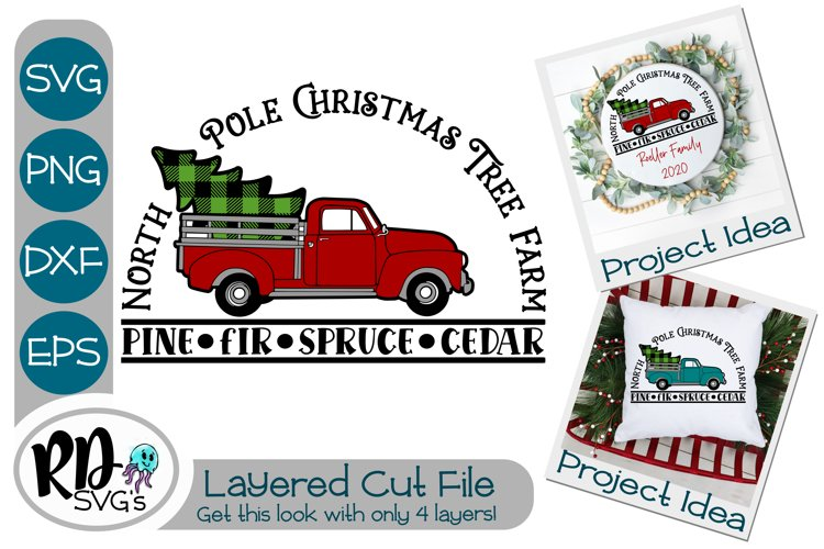 Christmas Farm Truck - A Layered SVG Cricut Cut File example image 1