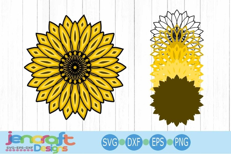 Sunflower SVG, 3D Mandala Eps, Dxf Cut file Layered Design