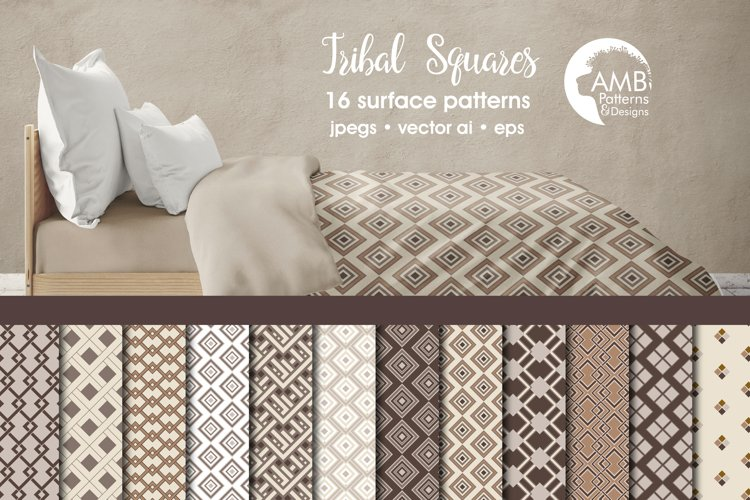 Tribal squares papers, patterns AMB-1072