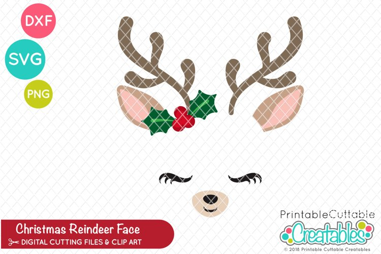 Christmas Reindeer Face SVG example image 1