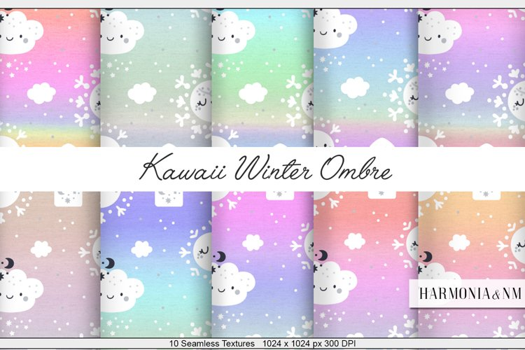 Kawaii Winter Ombre 10 Textures Harmonia NM example image 1