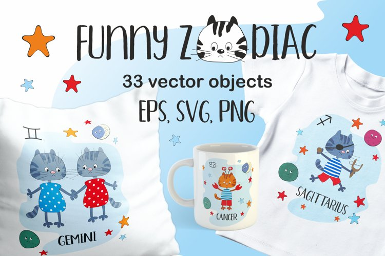 Funny Zodiac with cats. Vector cliparts.