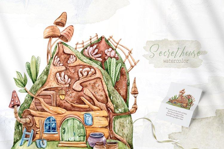 Watercolor gnome house clipart. Nursery cute illustration