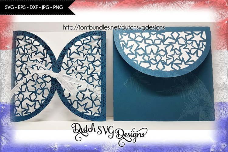 Cutting file blank card with envelop and stars, card svg