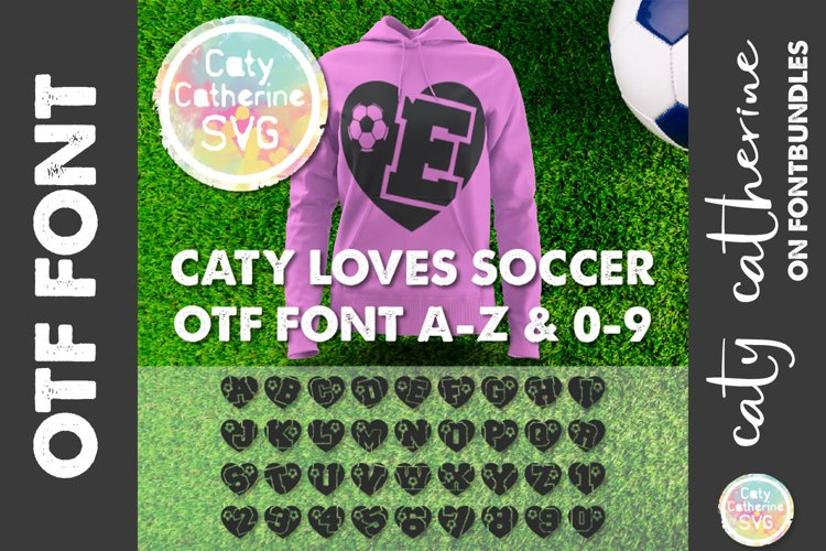 Soccer Football Love Heart Initial Font A-Z & 0-9 OTF example image 1