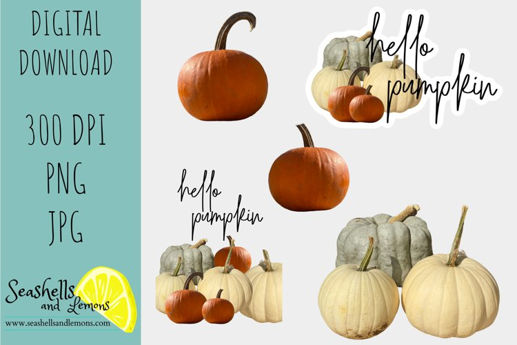 Hello Pumpkin-Blue White Orange Pumpkin Graphics example image 1