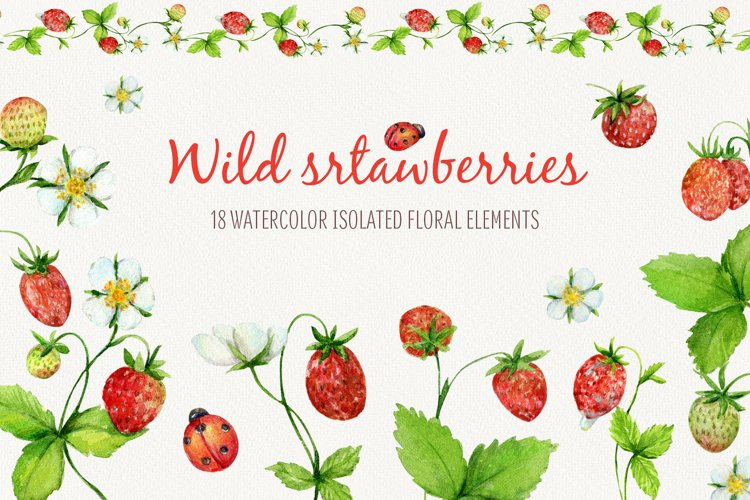 Watercolor cliparts of wild strawberies example image 1