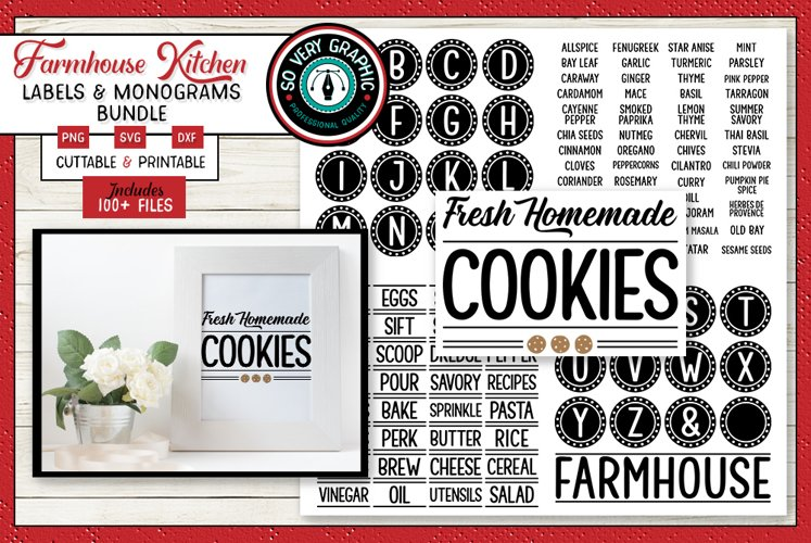 Farmhouse Kitchen Labels & Monogram Bundle 100 SVG Designs