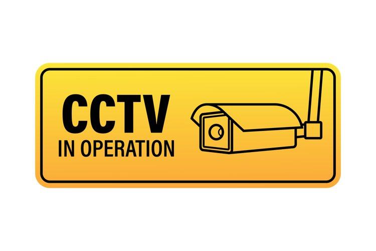 Icon with cctv on white background. Silhouette symbol. example image 1