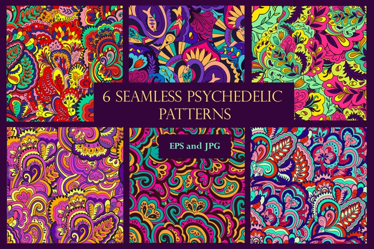 The set of bright whimsical psychedelic patterns.