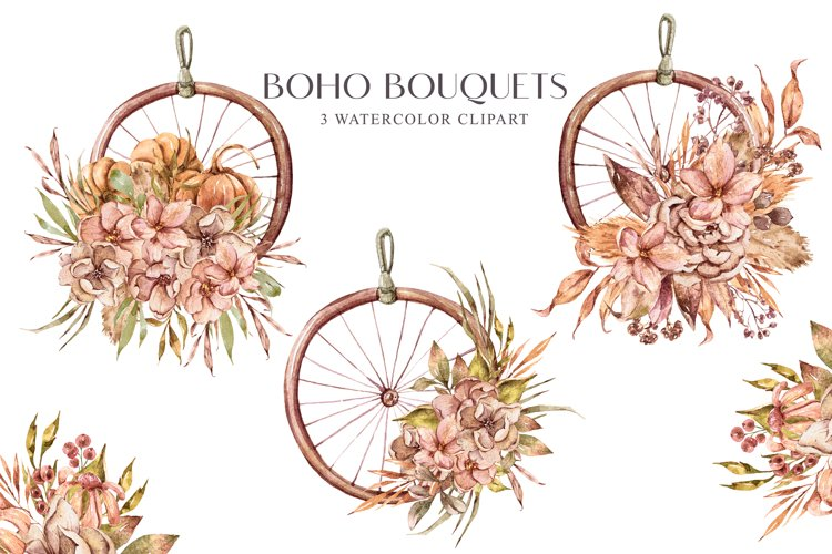 Boho bouquets clipart. Bohemian wedding illustrations