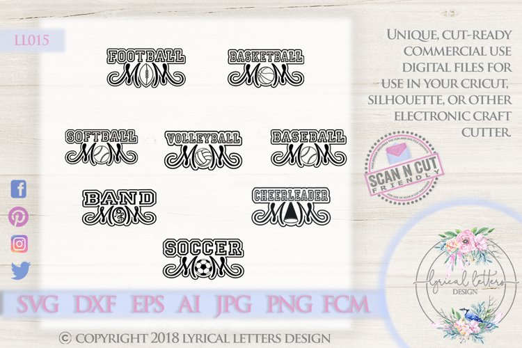 Sports Mom Bundle of 8 SVG DXF Cut Files LL015