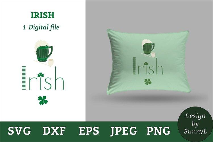 Irish svg. Beer mug, shamrock, pipe. St.Patricks day svg