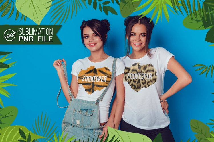 Zookeeper, tiger/leopard, sublimation for white background