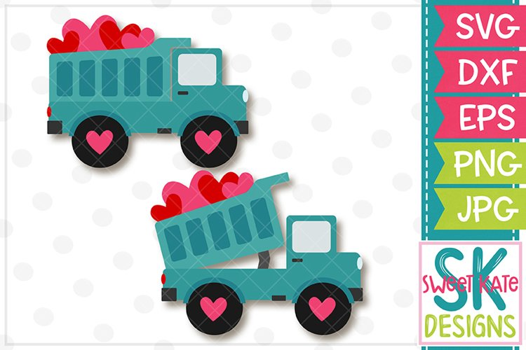 Dump Truck Full of Hearts SVG DXF EPS PNG JPG example image 1