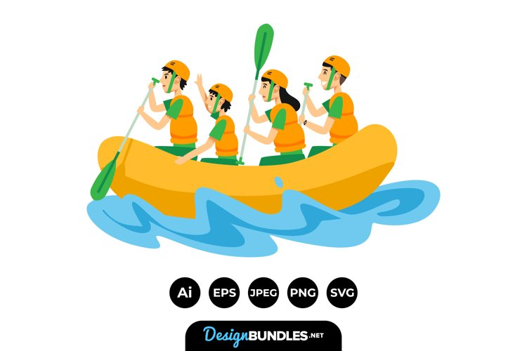 Family River Rafting Illustrations example image 1