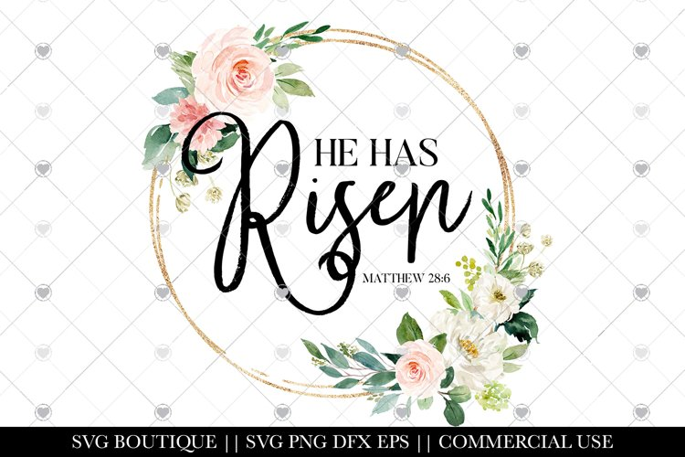 Easter Designs - He Has Risen Sublimation - PNG File example image 1