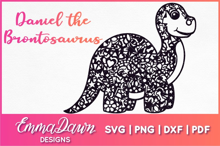 DANIEL THE BRONTOSAURUS SVG MANDALA / ZENTANGLE DINOSAUR example image 1