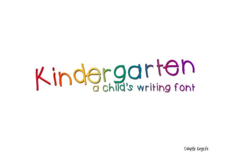 Kindergarten - a child's writing font example image 1
