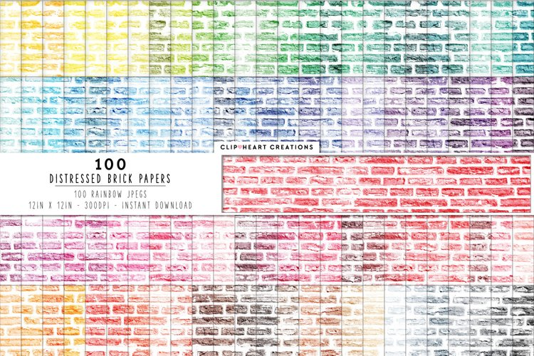 100 Distressed Brick Digital Papers in Rainbow Colors example image 1