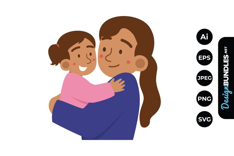 Mom and Baby Girl Clipart example image 1