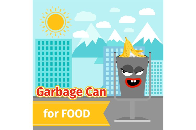 Food trash can with monster face example image 1