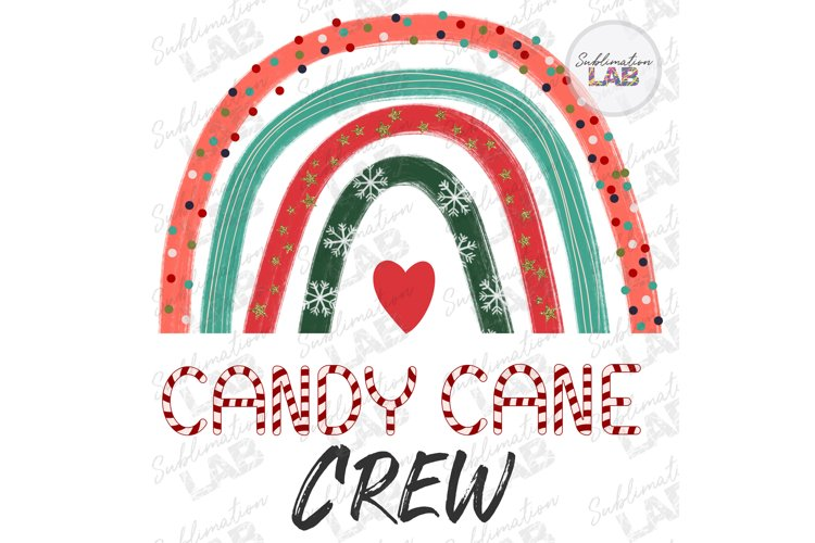 Christmas Candy Cane Crew Rainbow Sublimation Design Kids example image 1