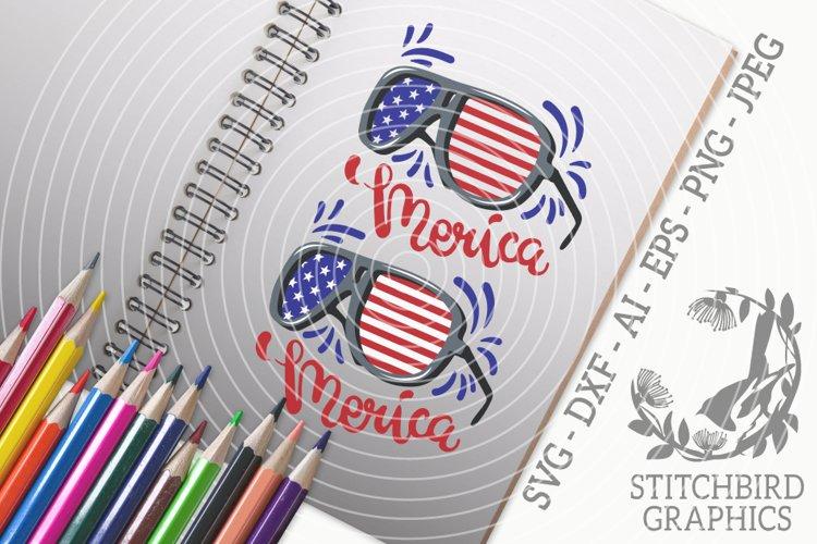 Merica Sunglasses SVG, Silhouette Studio, Cricut, Eps, Dxf example image 1