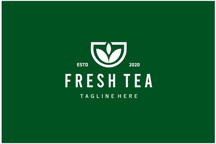 Fresh tea cup leaf minimalist logo design inspiration example image 1