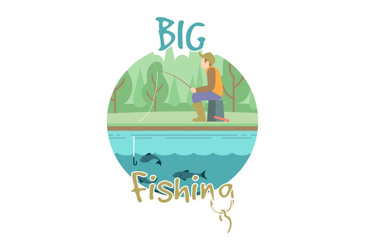 Fishing vector concept with fisher man and landscape