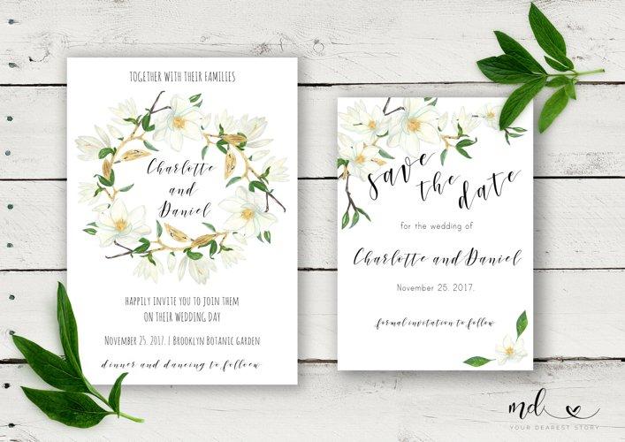 Magnolia Wedding Invitation & Save the date