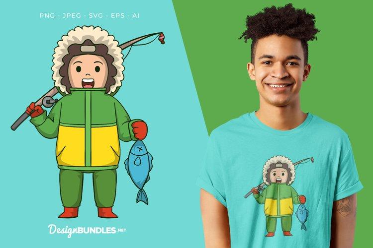 Eskimo Boy Fishing Vector Illustration For T-Shirt Design