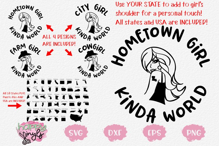 Girl Kinda World Design Set w/ 50 States & More - A Fun SVG