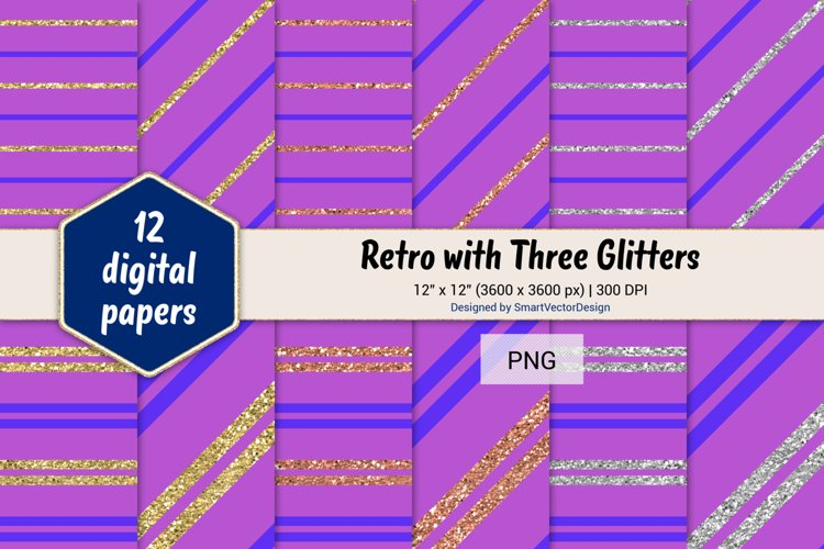 Pinstripes Retro with Three Glitters Color Combo #90 example image 1