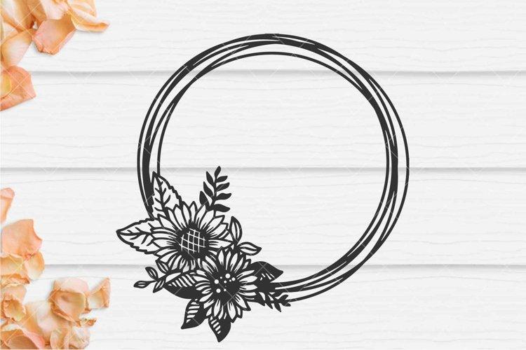 Circle sunflower frame SVG, Wedding invitation frame example image 1