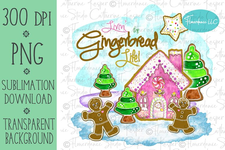 Gingerbread Cookie PNG Christmas Sublimation Design example image 1