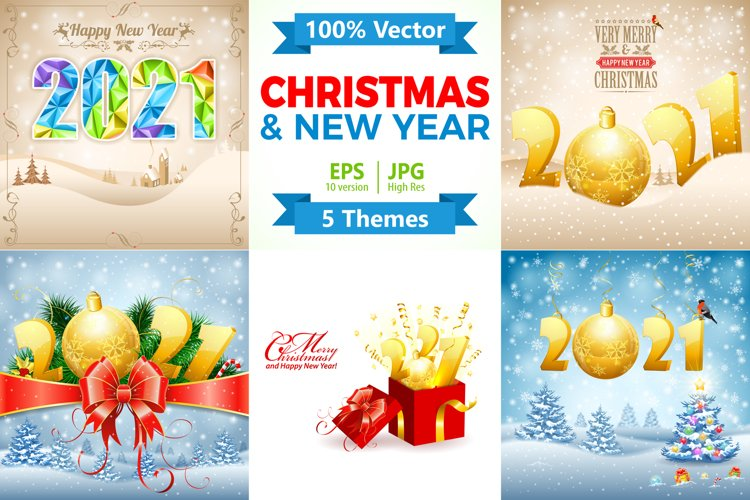Christmas and New Year Backgrounds example image 1