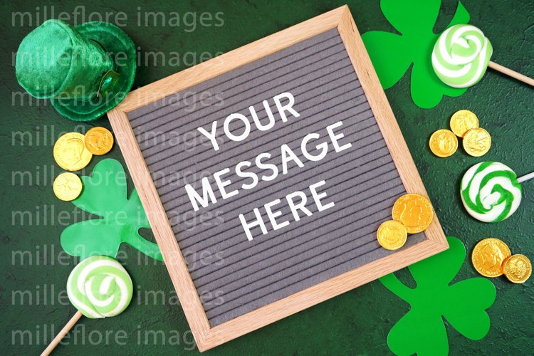 St Patrick's Day Letterboard Flatlay SVG Craft Mockup JPEG example image 1