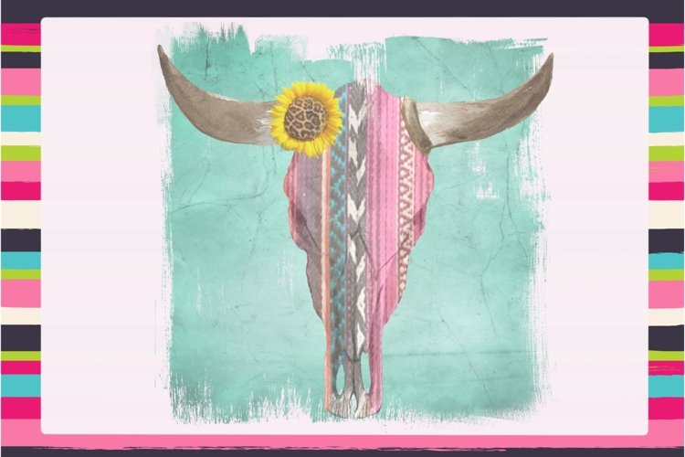 Serape Steer Skull Sublimation Digital Download example image 1