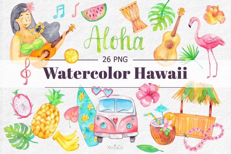 Watercolor Hawaii Clipart, Summer Island Beach, Aloha, PNG