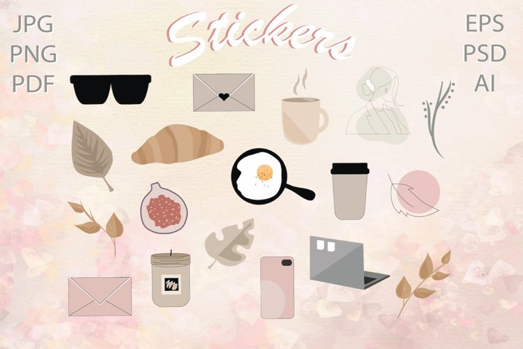 Fashion stickers  Cozy digital stickers PNG