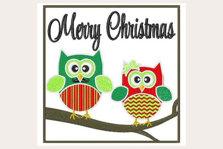 Merry Christmas Owls - Machine Embroidery Design example image 1