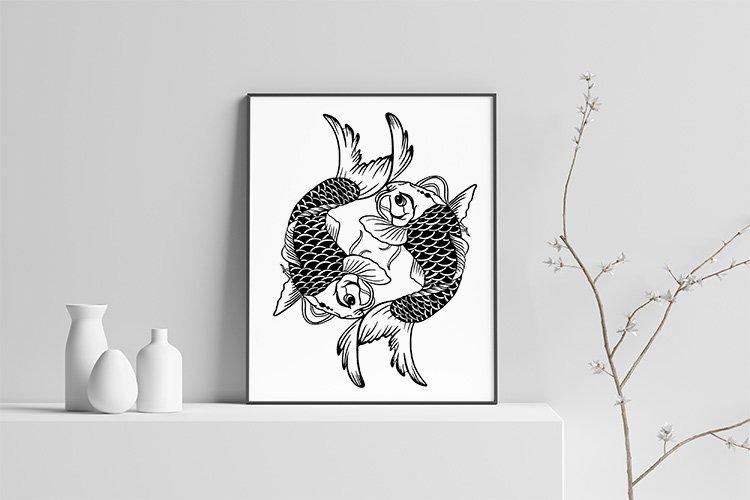 Koi fish paper cut and sublimation illustration template