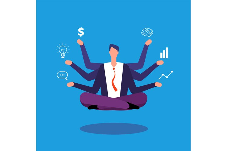 Multitasking businessman. Manager sitting in yoga lotus pose example image 1
