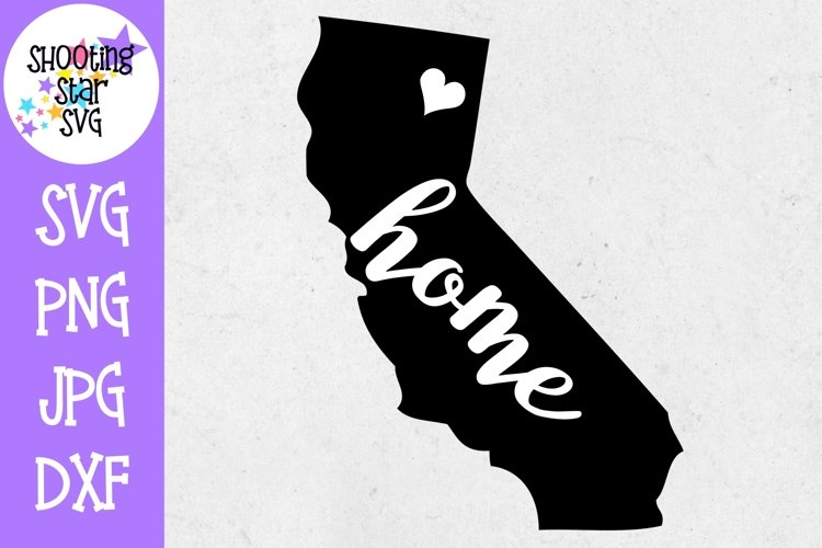 California Home State with Heart - 50 States SVG example image 1