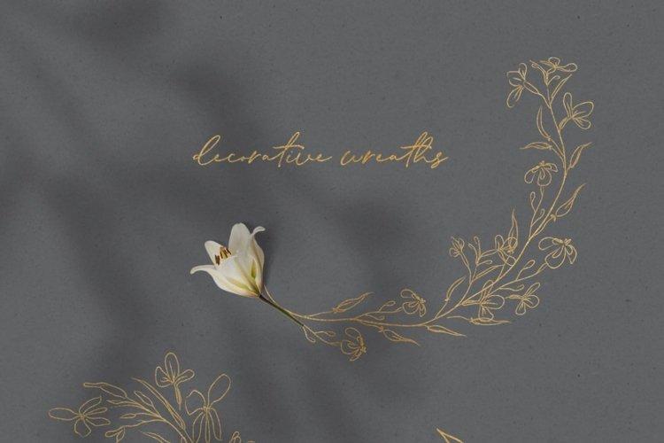 Line Drawn Golden Floristic Wreaths Sprigs botanical clipart example 4