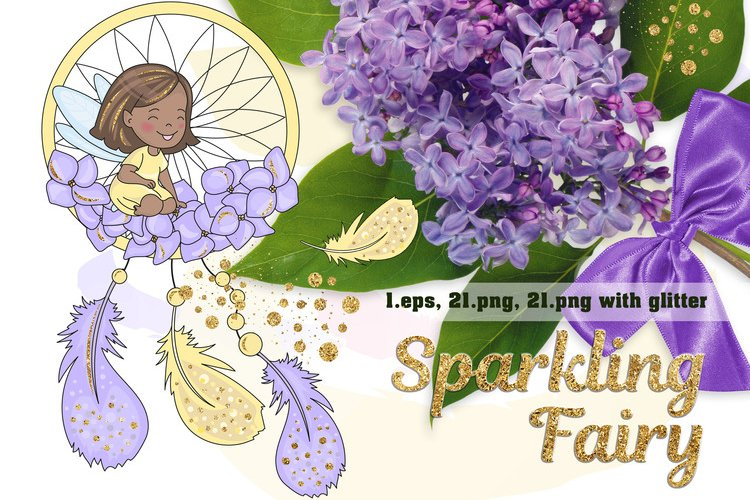 SPARKLING FAIRY Glitter Color Vector Illustration Set example image 1